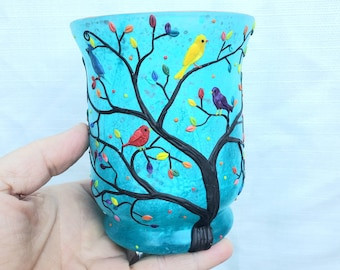 4 Rainbow Birds in a Rainbow Tree Sculpted with Polymer Clay onto a Recycled Glass Candle Holder in Teal and Turquoise
