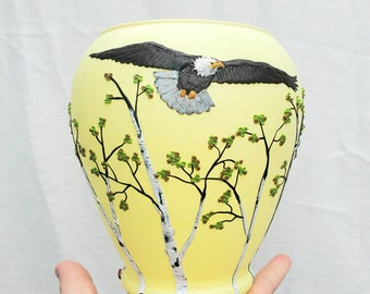 Bald Eagle Flying over the Forest Canopy Sculpted with Polymer Clay onto a Recycled Glass Vase/Candle Holder in Lemon Yellow