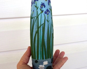 Water Lilies, Irises and a Bee Sculpted with Polymer Clay onto a Recycled Glass Vase in Pale Turquoise and Pale Periwinkle for Mom