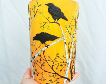 3 Ravens Against Fiery Sunset Sculpted with Polymer Clay onto a Recycled Glass Candle Holder/ Art Vase