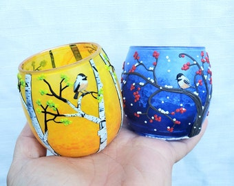 Set of Two Chickadee Candle/ Tea Light Holders in Autumn and Winter Sculpted with Polymer Clay onto Recycled Glass in Gold and Deep Blue