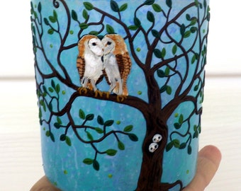 Barn Owls Locked in a Kiss with Owlets in Tree Sculpted with Polymer Clay onto a Recycled Glass candle Holder in Blue
