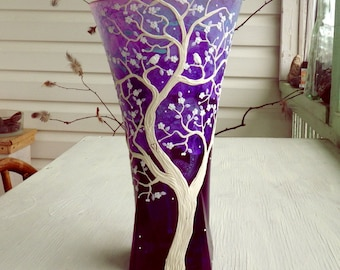 Unity Vase in Purple and White Wedding or Anniversary Gift Sculpted with Polymer Clay onto Recycled Glass