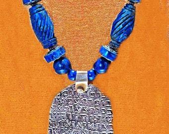 Antique Silver Hamsa & Lapis Beads