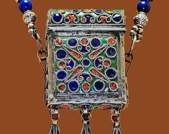 Antique Enamel African Tuareg Berber Box Necklace