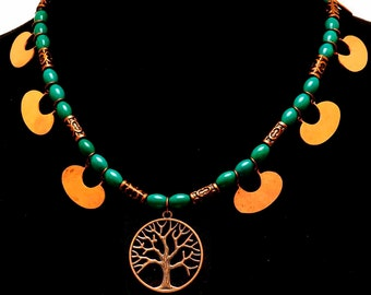 SALE**Tree of Life w/Turquoise & Copper Crescents