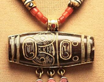 Unusual Nepali Stone Carving, Coral & Batik Beads