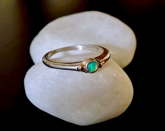 Ethiopian Opal Ring, Sterling Silver And 14k Gold