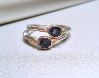 Cornflower Blue Sapphire Ring, Sterling Silver And 14k Gold