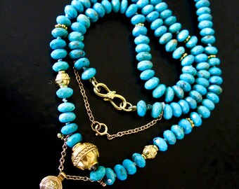 Turquoise And 18k Gold Necklace, Diamond And 18k Gold Pendant, 18k Gold Beads