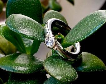 Sterling And 18k Gold Diamond Ring, Rose Cut Diamond