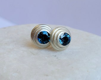 Small Teal Blue Sapphire And Sterling Silver Earrings
