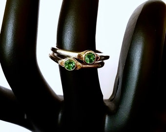 Green Garnet Ring, Sterling And 14k Gold, Small Tapered Ring