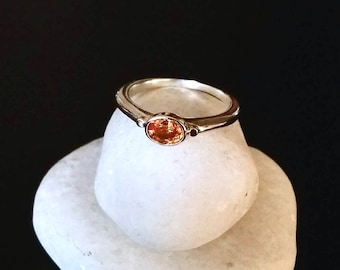 Bright Orange Sapphire Ring, Sterling Silver And 14k gold, Size 7