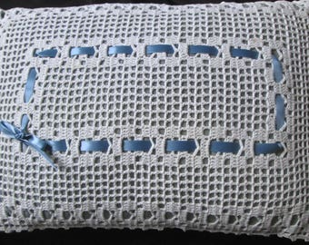 "new pillow handmade w blue silk topped w vintage crocheted lace doily 15x10"" OOAK"