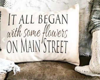 Personalized Pillow, Cotton anniversary, Second marriage, fiance gift, It all Began love story, fiance gift, gift for men, trending now*
