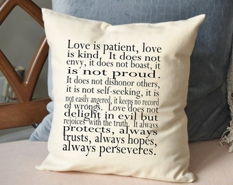 Love pillow, Anniversary gift idea, Religious gift, spritual gift, Wedding gift idea,  Corinthians // Love is patient, Love is kind// Pillow