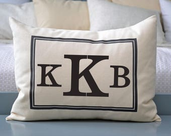 Personalized Pillow, Monogram, 4th anniv., fiance gift for her, engagement, newlywed gift, cotton anniversary, 2nd anniv.