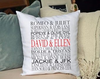 Valentine gift idea, couples Personalized pillow ,Famous couples pillow, typography wedding pillow, valentine gift idea,  2
