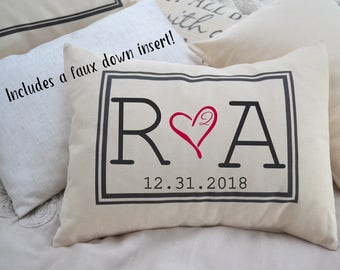 Christmas gift, Personalized Couples, 2nd anniversary,  romantic 2 year gift, monogram, Cotton anniversary, gift for her, gift for him 2