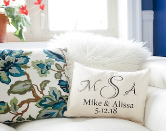 Monogram pillow, couples monogram, valentines idea, personalized pillow, wedding gift, 2nd anniversary, cotton anniversary, engagement gift
