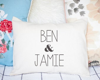 Cotton anniversary, 2nd anniversary, Personalized Valentine, xmas, couples gift, ampersand, newlywed pillow, 2nd Anniversary Pillow -m+s-