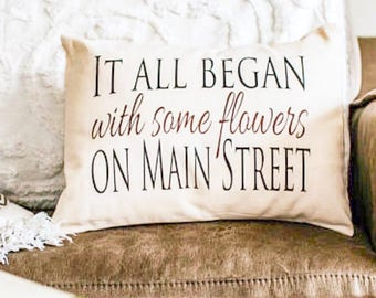Personalized it all began pillow, 4th anniv., engaged gift, fiance gift, 2nd cotton anniversary, Valentine, Christmas