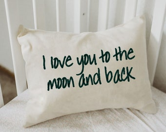 Personalized pillow, Mother's day,Valentines gift idea,  Love pillow, Moon pillow, anniversary pillow, couples pillow