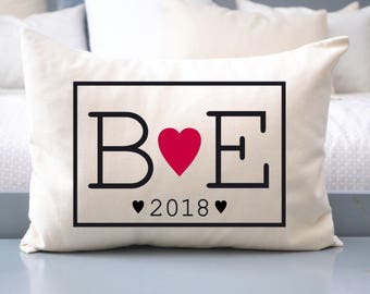 Christmas gift, Cotton anniversary pillow, 2nd Anniversary,  gift for him, romantic gift, Heart love pillow