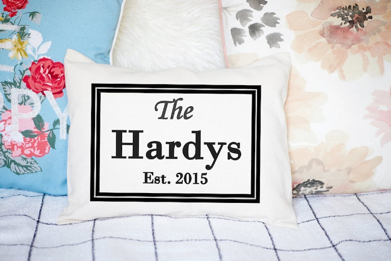 Personalized pillow cotton gift second anniversary couples image 0
