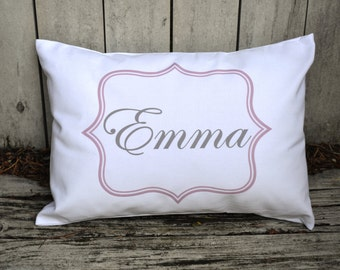 Personalized baby pillow, baby girl gift,  Newborn gift, girls pillow, teen gift, name pillow,  pink and grey baby gift idea -Emmacov-
