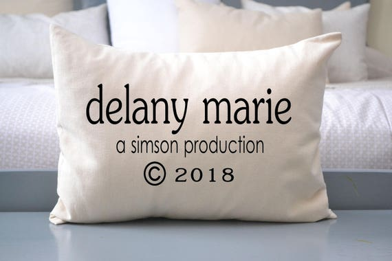 Personalized Baby Pillow with Parents names circa and copywrite year Whimsical Personalized gift for Baby birth year Cream Cotton
