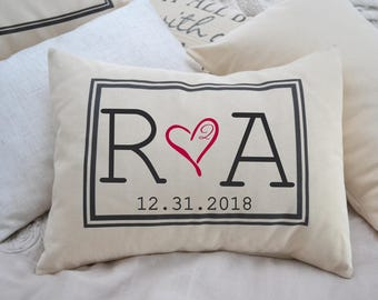 Personalized Pillow, fiance gift for her, gift for him,  Second cotton anniversary, Christmas gift, engaged gift, dating anniversary