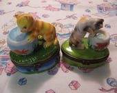two kitties in the fish bowl trinket boxes