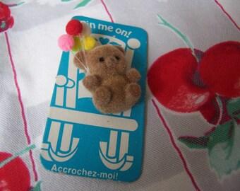 tiny flocked bear with balloons pin