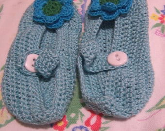 handmade teal baby booties