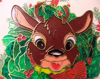 adorable plastic faux stained glass deer
