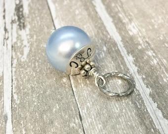 Something Blue, Wedding Charm, Something blue for bride, Personalized Hand Stamped, Bouquet Charm, Garter Charm, Bracelet, Wedding Keepsake