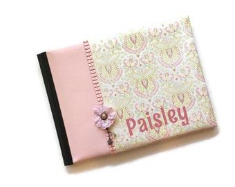 Light Pink Damask Baby Book Paisley Landscape Orientation