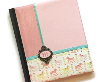 Pink and Yellow Rocking Horse Baby Memory Book