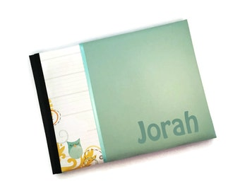 Turquoise Aqua Yellow Owl Baby Book Jorah Landscape Orientation