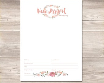 Watercolor Wreath Blush Pink Digital Baby Book Pages