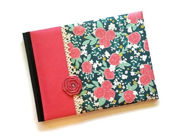 Dark Pink and Teal Roses Baby Book Landscape Orientation Hannah