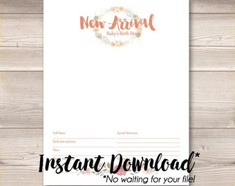 Instant Download* Digital PDF Watercolor Wreath Coral Pink Digital Baby Book Pages