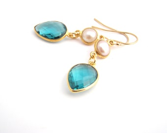 Pearls And Green Tourmaline Crystal Earrings, White, Teal Green, Bridesmaid Earrings