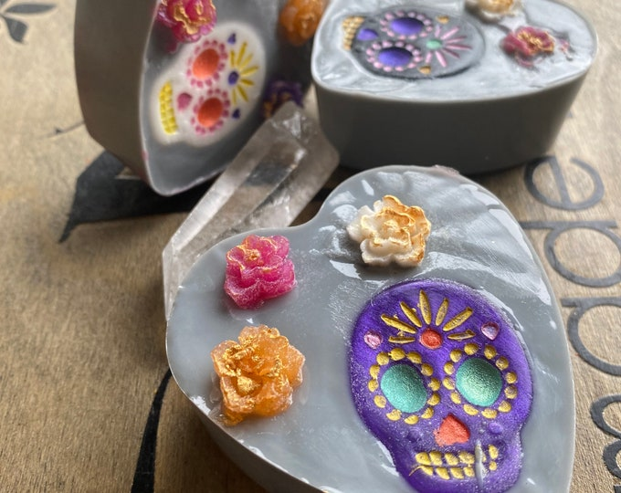 Day of the dead heart soap gray