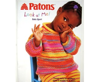 Look at Me! Knitting Patterns Book Children Sizes 6 months to 4 years Beehive Patons 914 Knit Cardigan Sweater Pullover Jumper Hat Toque Cap