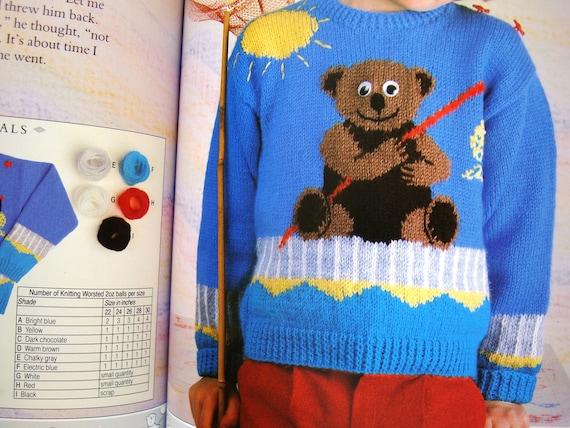 TEDDY Bär strickt Kinder Pullover Muster Buch 16 Stricken | Etsy