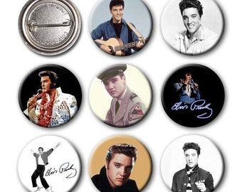 ELVIS PRESLEY - Pinback Buttons (set of 8)