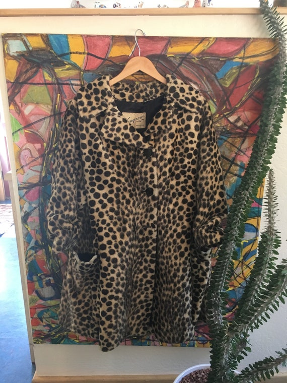 Vintage Leopard Print Fur Coat